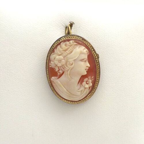 Vintage Danecraft Sterling and Gold Filled Shell Cameo Brooch Pin Pendant