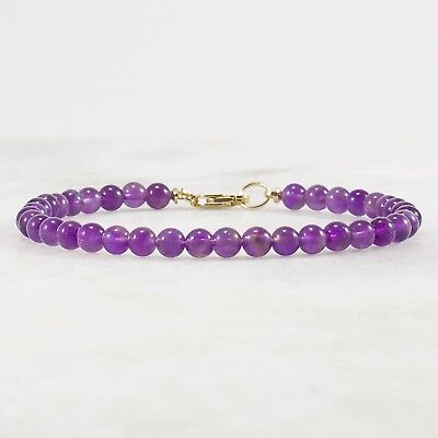 Genuine Amethyst 4mm Round Bead Bracelet, Gold or Silver, 6 7 8 inches