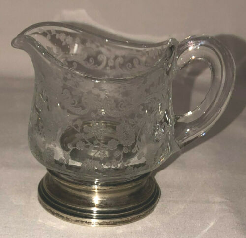"Cambridge CHANTILLY CRYSTAL 3"" INDIVIDUAL FLAT CREAMER W/STERLING BASE #253"