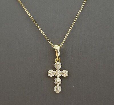 Women 14k Yellow Gold Plated Sterling Silver Cz Cross Pendant Necklace 14k Gold Womens Cross Pendant