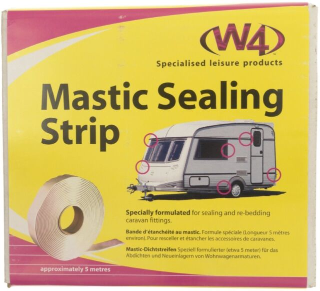 W4 CARAVAN MOTORHOME WHITE MASTIC SEALING STRIP 19mm x 5m x 2.5mm SEALANT ROLL