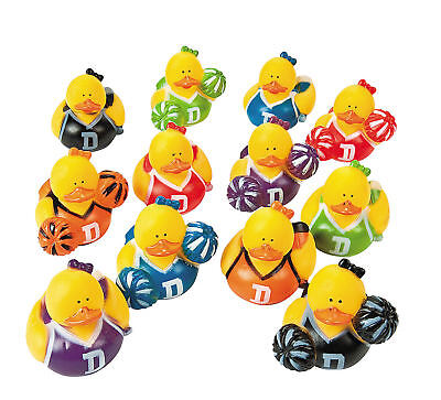 12 Cheerleader Rubber Ducks party favors Cake Toppers Football Basketball