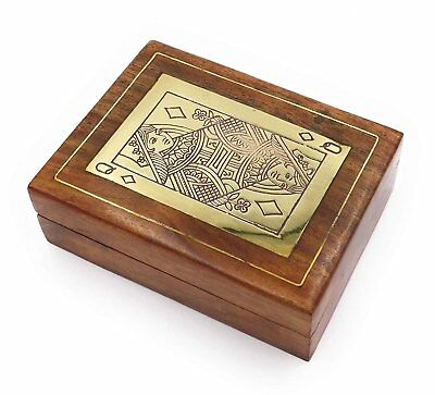 The Online Bazaar Playing Cards in a Handmade Wooden Decorative Box with...