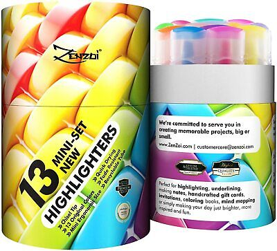 Zenzoi Highlighters Markers Assorted Colors Highlighter Marker Pens Pack Of 13