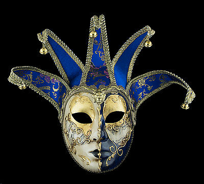 Mask from Venice Volto Jolly Golden Blue in 5 Spikes -disguise - 2194 TG1