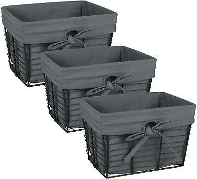 DII Vintage Grey Wire Baskets for Storage Removable Fabric Liner Set of 3 -