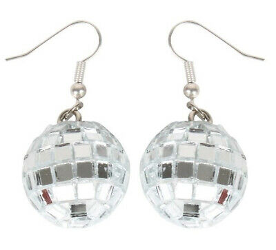 GIRL'S COSTUME DISCO BALL EARRINGS SILVER MIRROR BALL EARRING FOR WOMAN 1