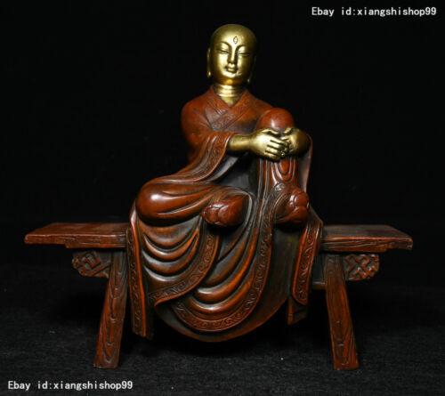 Tibet Bronze Gilt Gold Netherworld Leader Ksitigarbha Boddhisattva Buddha statue