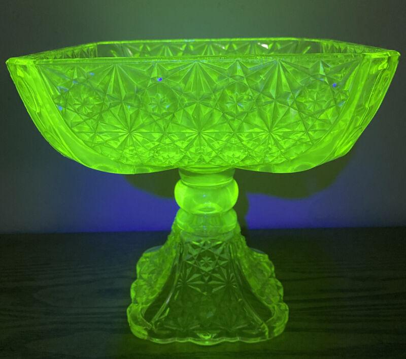 VINTAGE VASELINE GLASS * Large Square Compote (pedestal bowl) * Daisy & Button