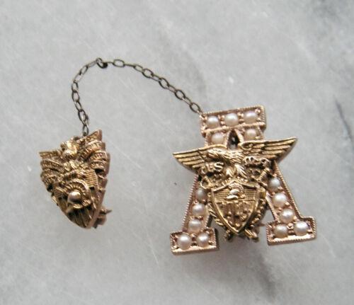 """1949 USMA Class """"A"""" Pin - 14K & Pearl Sweetheart Pin"""