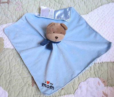 Child of Mine Blue Plush Puppy Dog I Love My Mom Baby Boy Security Blanket EUC