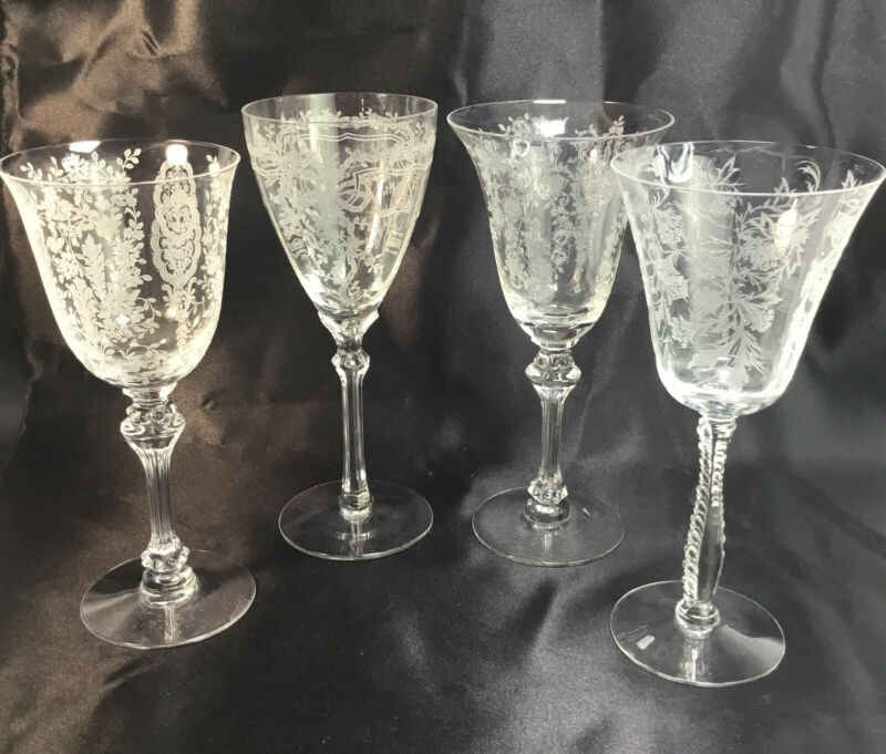 Vintage Wine Glasses Goblets Etched Stemware Collection Barware Set Of 4