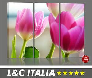 tulipani-I-3-QUADRI-TELA-CANVAS-ARTE-ARREDO-CASA