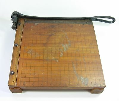 Wood Paper Cutter Vintage Ingento No 3. 10 Ideal School Cast Iron Guillotine