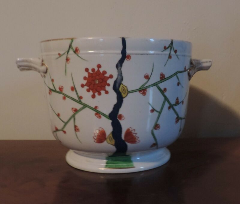 Antique English Porcelain Crown Derby Imari Cachepot Planter Flower Pot 19th c.