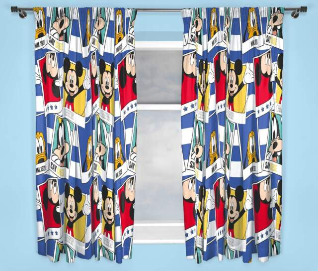 DISNEY MICKEY MOUSE POLAROID CURTAINS 167.6cm x 182.9cm INCH DROP BOYS AND GIRLS