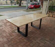 Solid pine block dining table on raw steel frames. **CLEARANCE** Fremantle Fremantle Area Preview