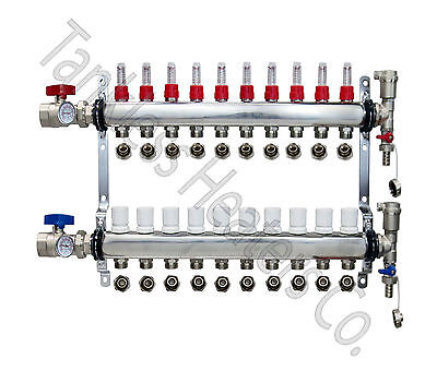 10-branch Pex Radiant Floor Heating Manifold Stainless W 12 Connectors
