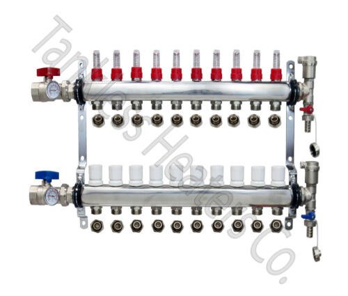 """10-Branch PEX Radiant Floor Heating Manifold Stainless w/ 1/2"""" Connectors"""