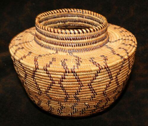 "An Antique Yokuts Native American Polychrome Bottleneck Basket 5 5/4""h x 7""d"
