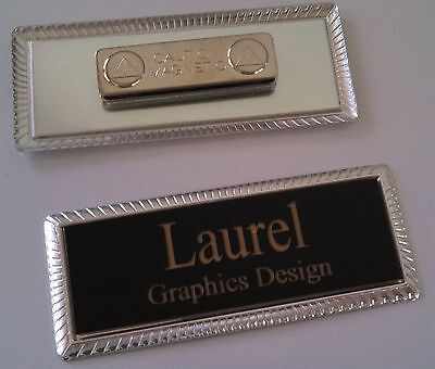 "BLACK Engraved Name Tag on SILVER metal frame 1""x3"" w/magnetic badge attachment"
