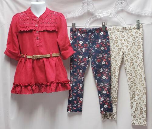 Lot 3pc 5T Girls Little Lass set top & matching leggings faux suede dress outfit