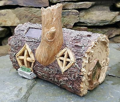 Solar Powered Garden Ornament Fairy log House Colour Change Log Home