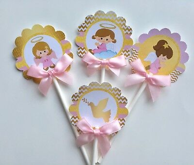 Baptism  angel cupcake topper/Baptism theme/ Pink and Gold cupcake toppers - Pink And Gold Theme
