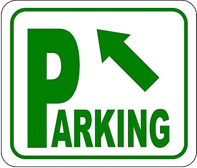 Parking Sign Aluminum Top - Directional Parking Sign with arrow pointing top left METAL Aluminum Composite