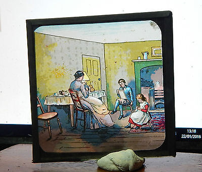 Victorian Glass magic lantern slide Domestic scene  colour image ci7