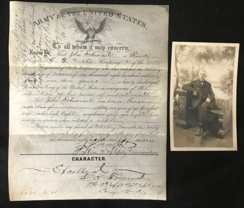 Original Velum Discharge Paper For Union Civil War Soldier w/ RPPC Photo Signed