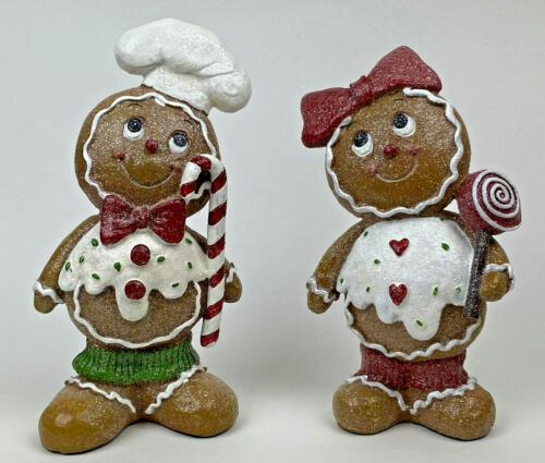 Large Retired Boy & Girl Couple Gingerbread Christmas Figurine Set Valerie Parr
