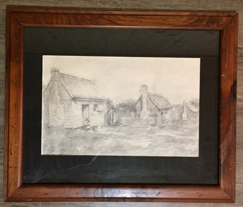 Slave Cabins Chapman 1861 graphite drawing signed dated