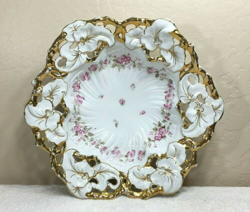 Antique C. T. Germany Porcelain Bowl Gold Trim Reticulated