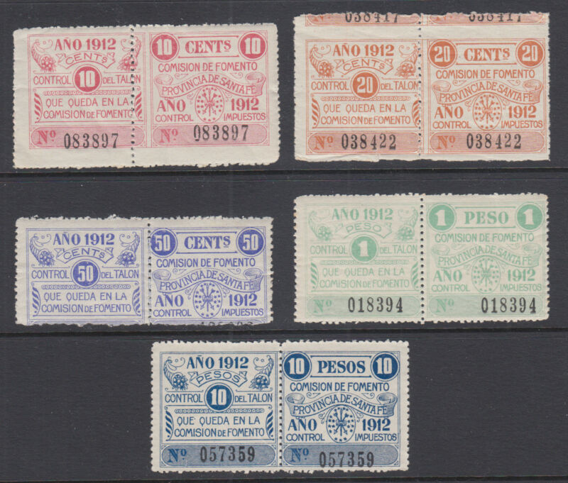 Argentina, Santa Fé, Forbin 25/31 mint 1912 Comision de Fomento Fiscals (5)