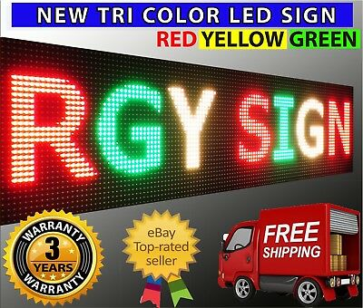 12 X 88 Led Sign 3 Color Programmable Marquee Shop Store Open Board Outdoor