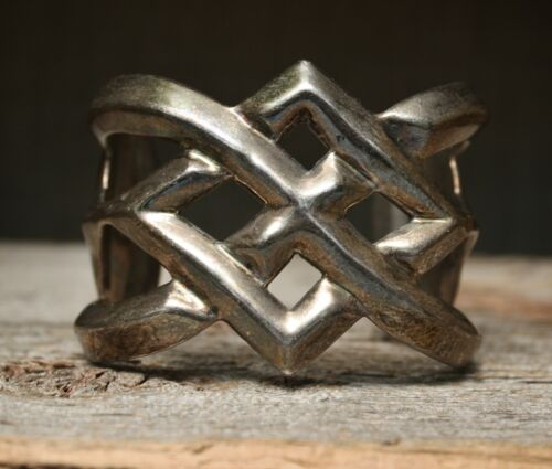 Huge Vintage Sterling Silver Taxco Mexico Cuff Bracelet