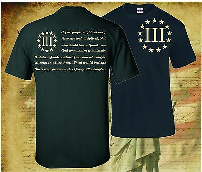 THREE PERCENTER PATRIOT APPAREL USA T-SHIRT MOLON LABE 2ND AMENDMENT 3 PERCENT