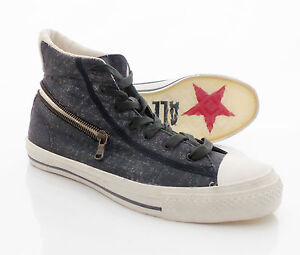 CONVERSE-John-Varvatos-Black-Canvas-Shoes-Size-9-5-US-9-UK-NEW-Grey-Zip-HI