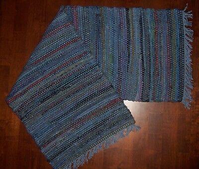 """Sturbridge 13"""" x 36"""" Woven Table Runner in Denim Blue, Cotton"""