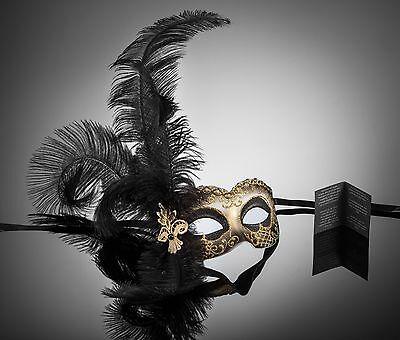 original venezianische Maske Augenmaske mit Federn Karneval Maskenball - Karneval Venezianische Maske Feder