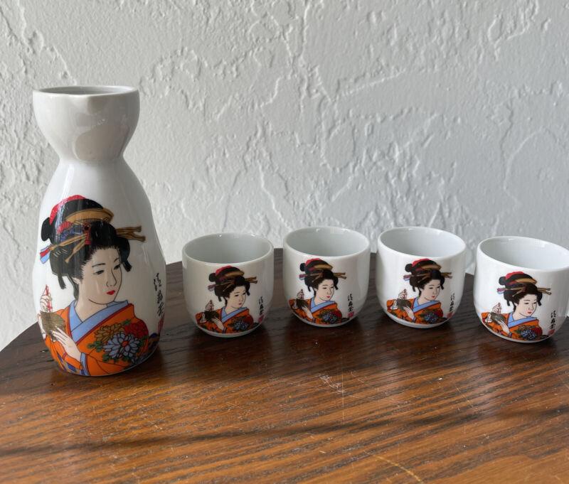 Vintage Japanese Geisha Women Sake Bottle & 4 cups set