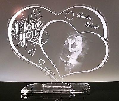 Acryl Schild Herz, Geschenk mit Fotogravur, Gravur, Lasergravur zu Weihnachten