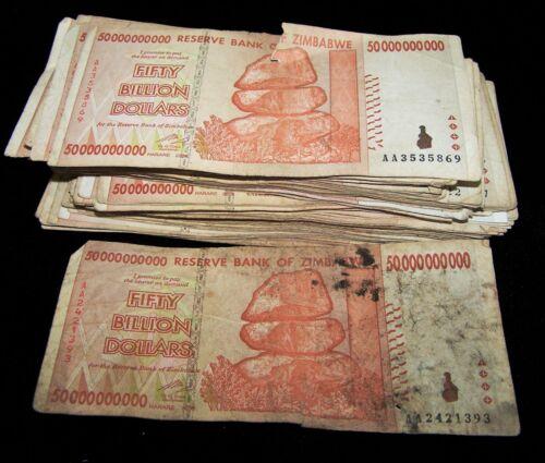 10 pcs x Zimbabwe 50 Billion Dollar banknotes-2008/AA&AB/DAMAGED CONDITION