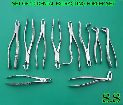 Set Of 10 Dental Surgery Tooth Extracting Forcep Kit Dn-521