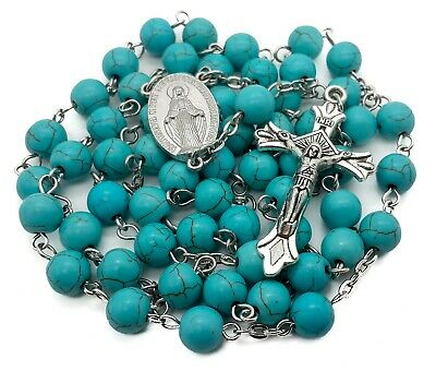 Rosary Turquoise Medal (Turquoise Marble Beads Silver Rosary Catholic Necklace Miraculous Medal Cross )