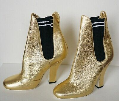 $1120 Authentic FENDI Roma Gold Metallic Leather Ankle Boots Shoes EUR-39 US-8.5