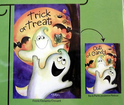 """sm Halloween """"Trick or Treat"""" & """"Out of Candy"""" Garden Flag (12.5"""" x 18"""") 2 sided"""
