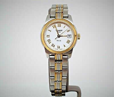 Tissot PR50 white dial GP & SS Ladies watch