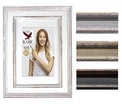 Lack-rahmen (Shabby Chic Bilderrahmen Holz Vintage Fotorahmen Weiß Grau Lack Rahmen  10 x 15)